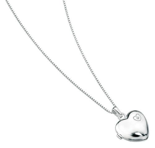 P2548 D for Diamond Silver Heart Locket