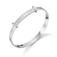 Jo For Girls Sterling Silver Heart Baby Bangle CB4