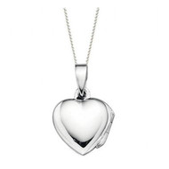 Girls Small Silver Heart Locket with 14 inch chain