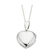 Girls Medium Silver Heart Locket with 16 inch chain