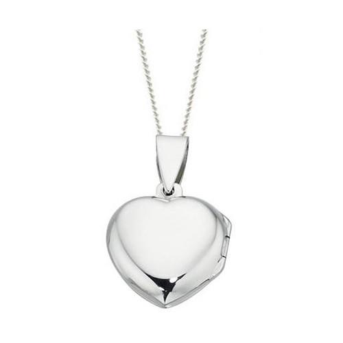 Plain sterling silver heart locket P3224
