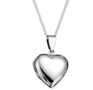 Girls Large Silver Heart Locket with 18 inch chain