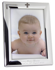 Personalised Silver Plated Elegant Cross Photo Frame