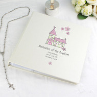 Baby girl personalised christening photo album - pink church