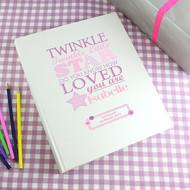 Personalised baby girl photo album - twinkle twinkle