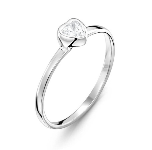Jo For Girls Clear CZ Heart Ring (JR160cz)