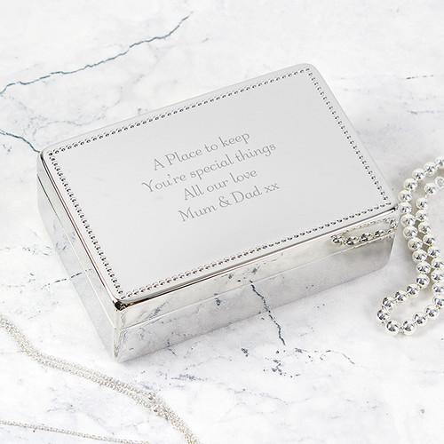 Personalised Beaded Edge Girls Jewellery Box