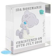 Personalised Tiny Tatty Teddy Christening Crystal Token