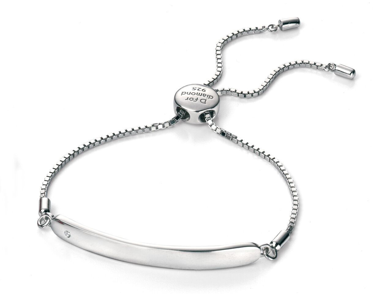 D for Diamond Silver ID Chain Bracelet - B4788 - Diamond Kids