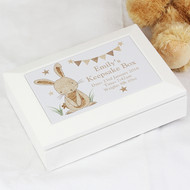 Personalised baby keepsake box with rabbit