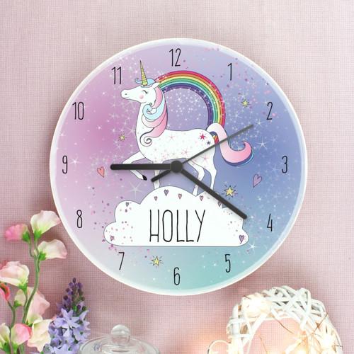 Childrens personalised unicorn clock
