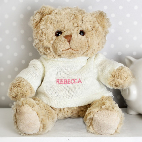 Girls Personalised Pink Name Teddy Bear