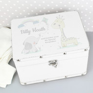 White baby keepsake box with cute baby animals
