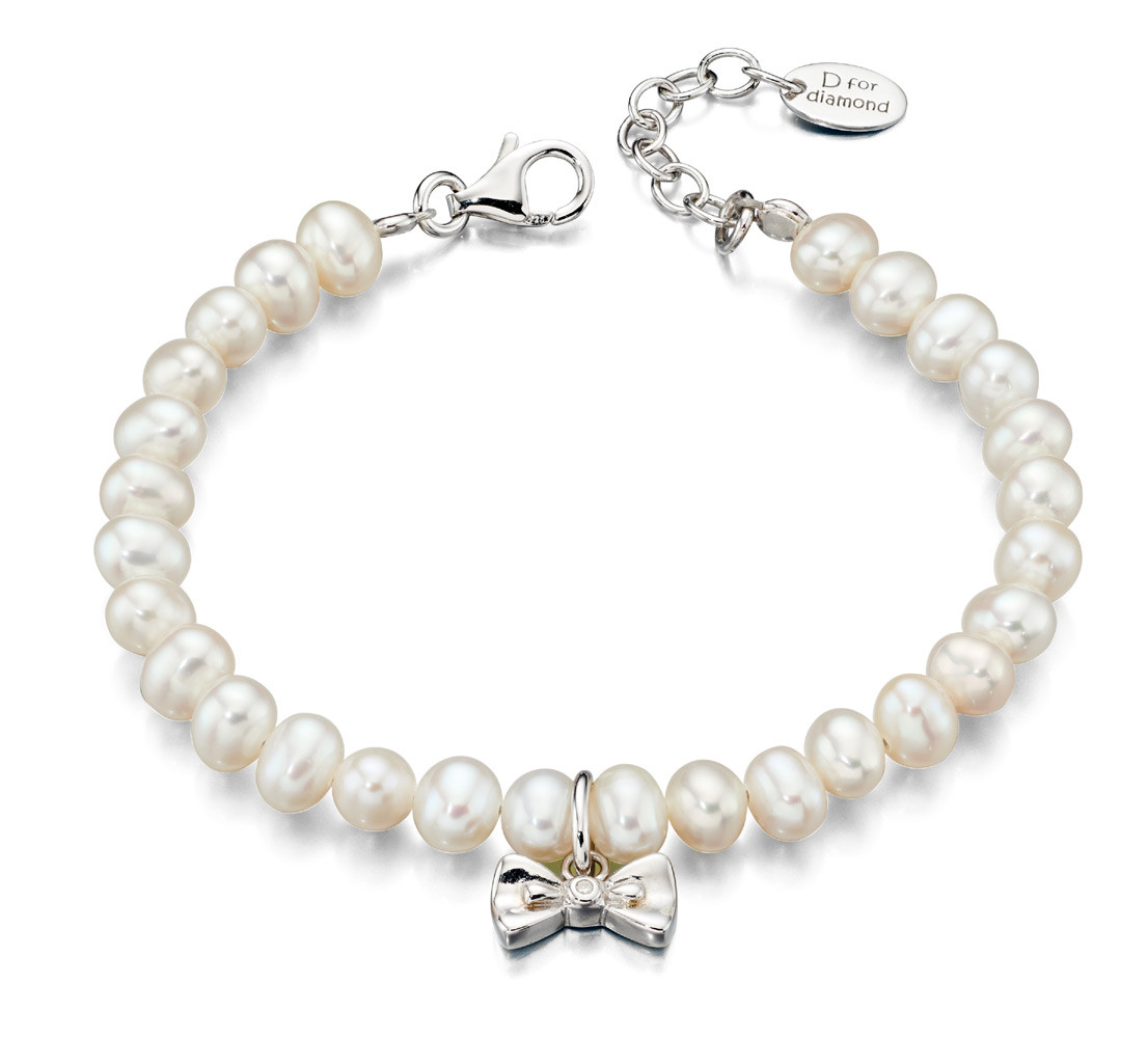 Girls Pearl Bracelet with Diamond Bow | Childrens Pearl Jewellery