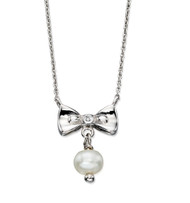 D for Diamond Silver Bow Pearl Drop Necklace - N4077