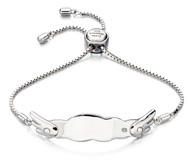 D for Diamond Silver Angel Wing Bracelet- B4877