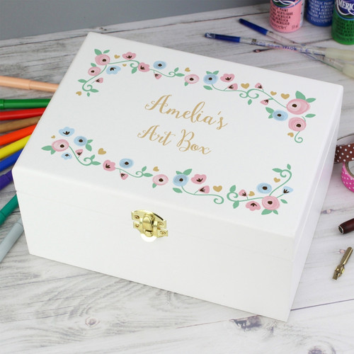 Personalised white wooden keepsake box