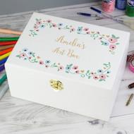 Personalised white wooden keepsake box