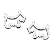 Girls Silver Cut Out Scottie Dog Stud Earrings