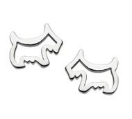Girls Silver Cut Out Scottie Dog Stud Earrings