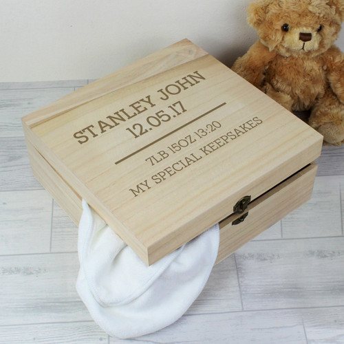 Personalised wooden keepsake box for boys