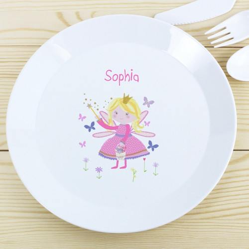 Childrens Personalised Garden Fairy Plastic Plate