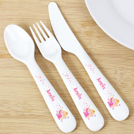 Personalised Fairy Plastic Kids Cutlery