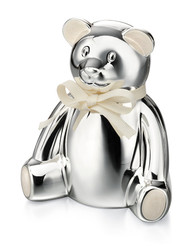 D for Diamond Silver Plated Teddy Bear Money Box (Y413)
