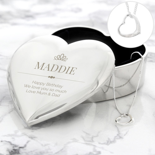 Personalised Crown Heart Trinket with Heart Pendant