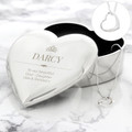 Engraved heart trinket for girls with heart pendant