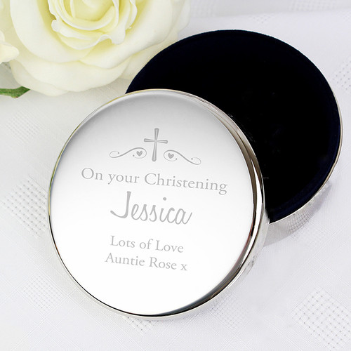 Personalised christening trinket pot