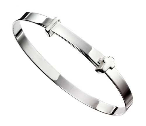 Silver Baby Christening Bangle with Cross B5082