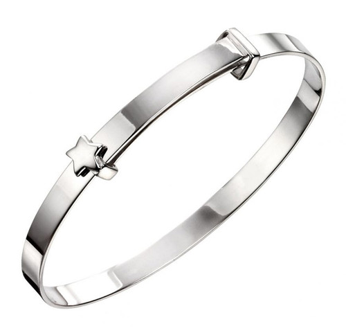 Silver Baby Bangle with Star B5081