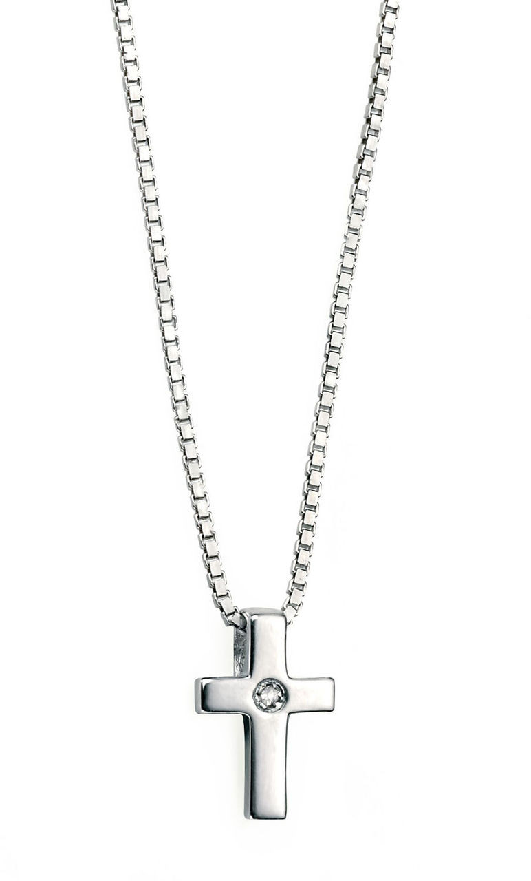 D for Diamond Sterling Silver P800 Girls Diamond Set Cross Pendant S3oGI6ax