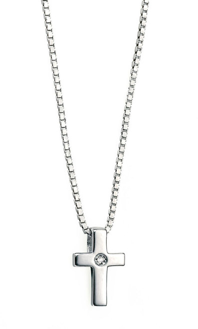D for Diamond girls silver christening cross pendant P800