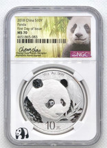 2018 China 10Y MS70 NGC Panda First Day of Issue Signed by the DESIGNER CHAO!