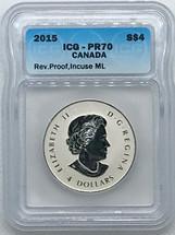 2015 Silver $4 ML PR70 ICG Rev Proof blue label