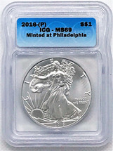 2016-(P) Silver Eagle MS69 Struck at Philadelphia ICG