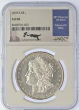 1878 S Morgan Dollar AU58 NGC Ed Moy