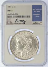 1884 O Morgan Dollar MS63 NGC Ed Moy