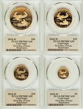 2018-W Gold Eagle ($5, 10, 25, 50) 4-Coin PR70 PCGS FDOI Philadelphia T. Cleveland Art Deco