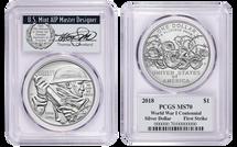 2018-P Sil. Dollar MS70 PCGS WWI Centennial First Strike T. Cleveland Wreath/Vet