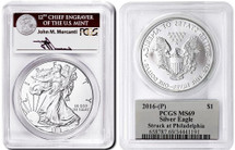 2016-(P) ASE MS69 PCGS Struck at Philadephia Mercanti (Silver Eagle label)