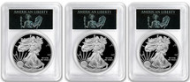 2018-W Proof Silver Eagle 3-Coin City Liberty Set PR70 PCGS FDOI DC, Denver & Philadelphia