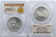 2018 $100 Platinum Liberty MS70 PCGS FDOI Thomas Cleveland Art Deco label