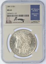 1881 S Morgan Dollar MS63 NGC Moy