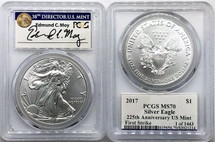 2017 ASE MS70 PCGS 225th Anniv US Mint First Strike 1 of 1443 Moy