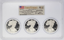 2017-W Proof ASE PR70 PCGS 3-coin slab DC, Denver, Phili 225th Anniv US Mint FDOI Flag First Strike Moy