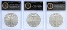 2017 Silver Eagle (S) (P) (W) MS70 3-Coin ANACS Set US President Seal Label