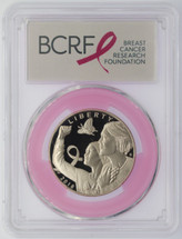 2018-S 50C Silver PR70 PCGS Breast Cancer Awareness FDOI Pink Ribbon label